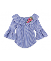 Beautees Blue/White Stripe 3/4 Sleeve Wt Flowery Embroidery Off Shoulder Blouse Shirt