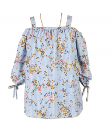 Speechless Blue Floral Off Shoulder 3/4 Sleeve Blouse