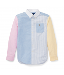 Polo Rl Blue & Striped Color Block Shirt Wt Yellow And Pink Sleeve
