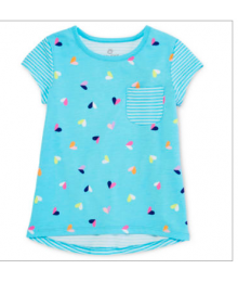 okie dokie light blue ss heart printed tee