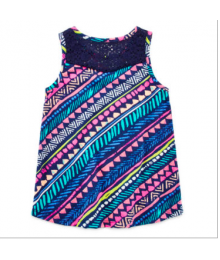 arizona navy lace inset multi tank top  Little Girl