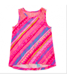 arizona pink lace inset multi tank top