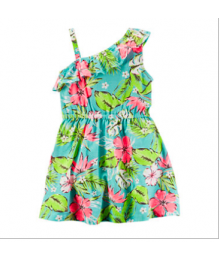 carters green/pink petals tropical ruffl dress
