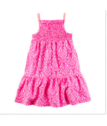 carters pink/white geo- print spagh dress
