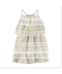 carters ivory print sleeveless geoprint dress