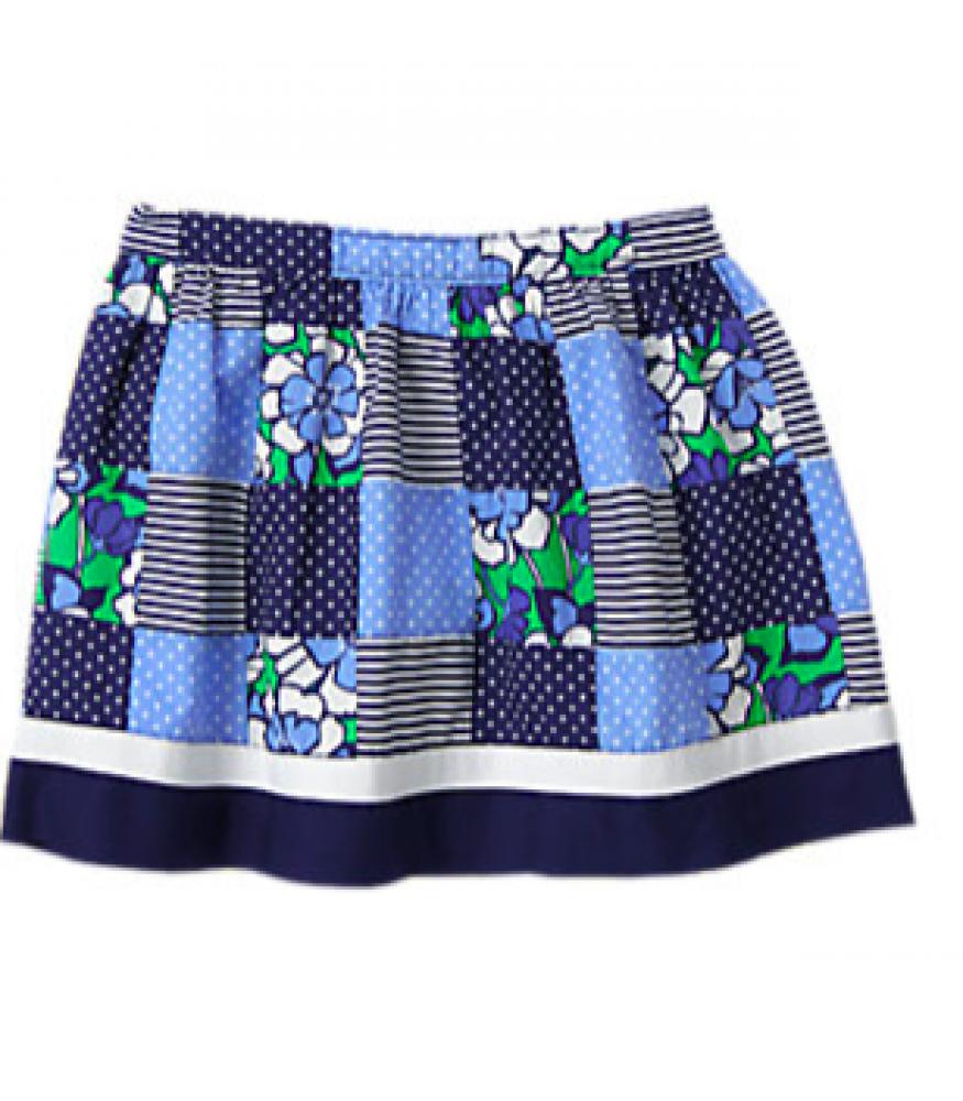 Gymboree Blue Safari Embroidered Geo Skirt Blue White 8 10 12 MSRP $27 NWT
