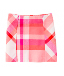 gymboree coral pink plaid skirt