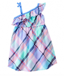 gymboree blue multi 1 shoulder plaid dress