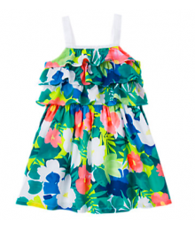 gymboree green floral spagh dress