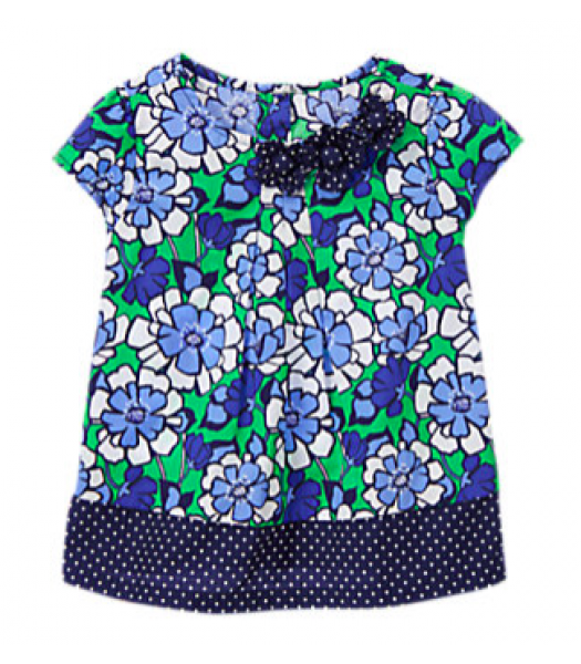 gymboree blue/white/green floral top