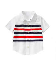 gymboree white stripe linen shirt