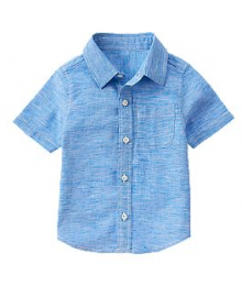 crazy 8 blue linen look ministrip ss shirt Baby Boy