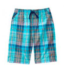 crazy8 light blue plaid check shorts