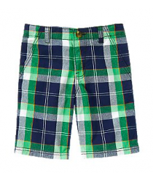 crazy8 blue/green/white check cargo shorts