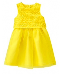 crazy8 yellow lace embr double layer dress