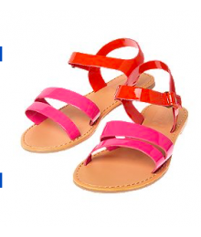 crazy 8 pink patent colorblock sandals