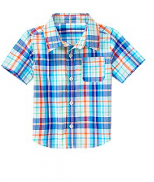 crazy8 white/blue check stripe shirt