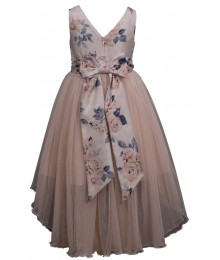 Bonnie Jean Beige Floral Bow Back Jewelled Waist Hi-Low Dress