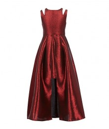 Rare Editions Red/Black Metallic Jacquard Split Shoulder Walk Through Dress