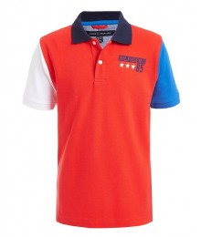 Tommy Hilfiger Red With Blue & White Arms Hilfiger Back Color Block Polo Shirt