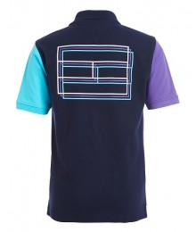 Tommy Hilfiger Navy With Purple And Light Blue Arms H Polo Shirt