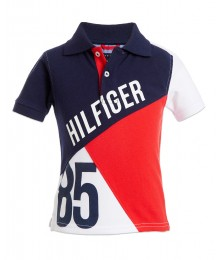 Tommy Hilfiger Blue/Red/White Hilfiger 85 Color Block Polo Shirt