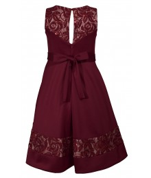 Bonnie Jean Burgundy Hi-Low Net Scuba Dress
