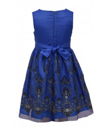 Bonnie Jean Blue Embroidered Mesh Flocked Dress  Big Girl