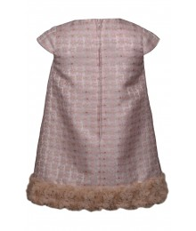 Bonnie Jean Pink Jacquard Fur Hem Bow Front Dress  Little Girl