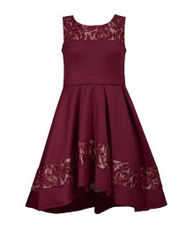 Bonnie Jean Burgundy Hi-Low Net Scuba Dress  Big Girl