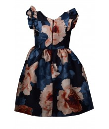 Bonnie Jean Blue Floral Ruffle Cap Mikado Pleated Dress  Big Girl