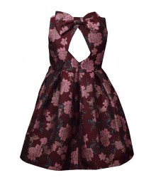 Bonnie Jean Burgundy Brocade Bow Back Pleated Dress..