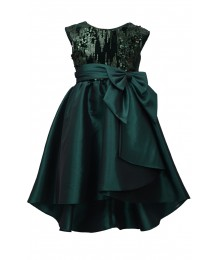 Bonnie Jean Green Sequin Hi Low Bow Waist Dress