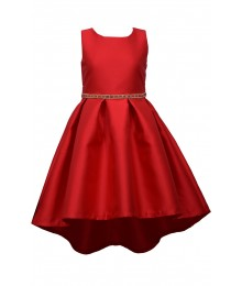 Bonnie Jean Red Pleated Mikado Jewelled Waist Dress