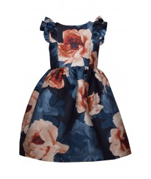 Bonnie Jean Blue Floral Ruffle Cap Mikado Pleated Dress