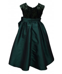 Bonnie Jean Green Sequin Hi Low Bow Waist Dress  Little Girl