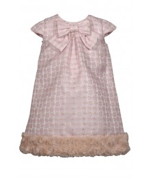 Bonnie Jean Pink Jacquard Fur Hem Bow Front Dress