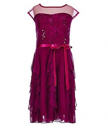 Xtraordinary purple sequin cascade belted dress