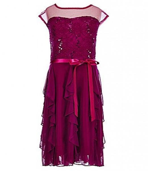 Xtraordinary purple sequin cascade belted dress