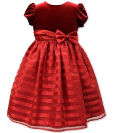 Jayne copeland red velvet shadow-stripe girls dress  Little Girl