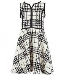 pippa&julie black/off white printed knit dress Big Girl