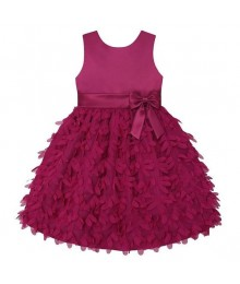 American princess berry pink satin petals applique dress