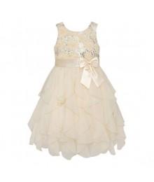 American princess cream/candlelight floral sequin soutache ruffle plus size dress