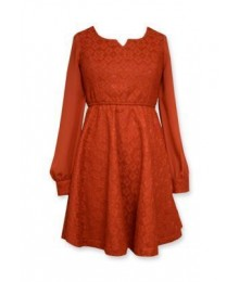 Bonnie jean red lace skater chiffon l/s dress