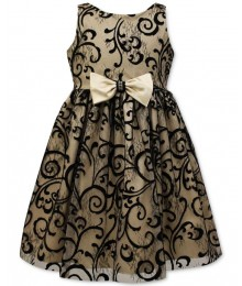 Jayne copeland gold/black velvet flocked girls dress