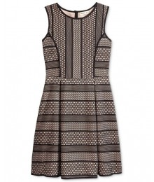 Monteau black/blush textured fit flare dress