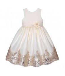 American princess candlelight/gold sequin border sleeveless dress