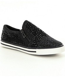 Gb girls black embellished slip-on sneakers wt dual side zip