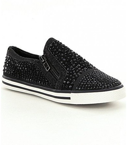 Gb girls black embellished slip-on sneakers wt dual side zip