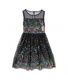 speechless black orchid wt multicolored sequin illusion girls dress